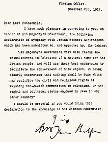 Era il 1917: la lettera di Lord Balfour